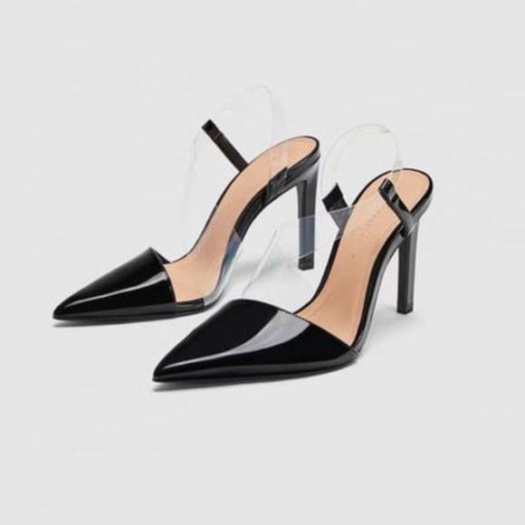09671342c75 Zara Vinyl Strap Faux Patent Leather Heels. 6 1 2